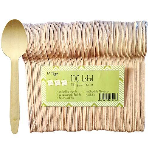 Pritogo 100 cucharas desechables de madera de abedul, 100% natural, ecológica y estable, aprox. 16,5 cm de largo (100 unidades)