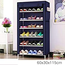 Tinnitus 6 Layer Multipurpose Portable Folding Shoe Rack/Shoe Shelf/Shoe Cabinet with Wardrobe Cover, Easy Installation Stand for Shoes(ShoesRack 6Layer in NavyBlue-Color)(Shoe Racks for Home)