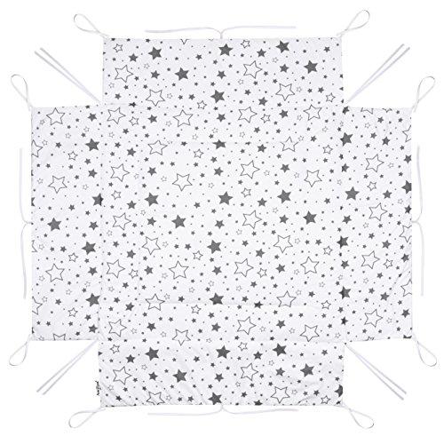 Amilian Laufstalleinlage Laufgittereinlage Schutzeinlage Baumwolle für Laufställe Laufstall Spielstall 100 x 100 cm Gute Nacht Grau