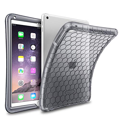 Fintie Case for iPad 9.7 2018 2017 / iPad Air 2 / iPad Air - [Honey Comb Series] Light Weight Anti Slip Kids Friendly Shock Proof Silicone Protective Cover for iPad 6th, Semi-Transparent Smoke