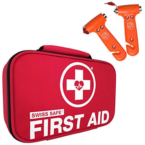Swiss Safe Bundle & Save: Emergency Car Hammer Automotive Rescue & Escape Tool (Orange 2-pk) Emergency First Aid Kit (120-piece) with 32-Piece Mini Kit