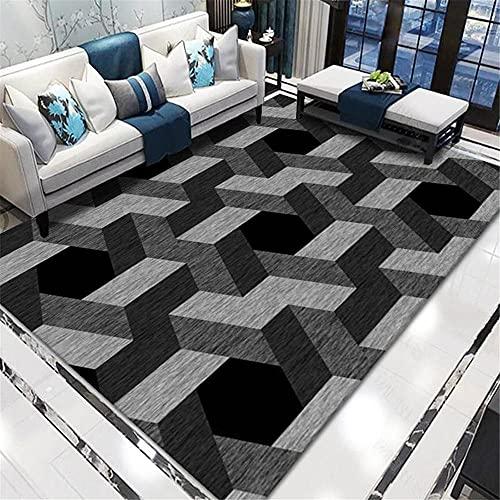 Teppiche Zimmer deko Teenager Grauer schwarzer Abstrakter geometrischer Teppich atmungsaktives Komfortables Schmutz-Anti-Rutsch-Wohnzimmer küche Teppich Teppich weich 180*280cm