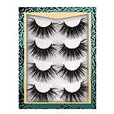 Full Volume Mink Eyelashes, FANXITON 5D False Eyelashes 22MM Long Faux Mink Lashes 4 Pairs