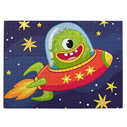 DOWNN Rompecabezas 3D para adultos y adolescentes 520 piezas rompecabezas monstruo alienígena volando en la nave espacial juguetes educativos DIY regalo para diversión juego y amor