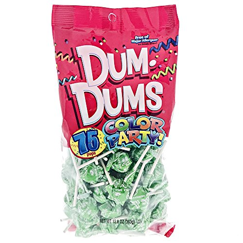 Bright Green Dum Dums Color Party - Sour Apple Flavored - 75 Count Bag - 12.8 ounces - Includes Free How To Build a Candy Buffet Guide