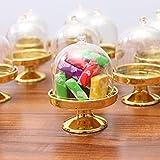 STOBOK 12pcs Mini Tortenständer Kuchenglocke Glasglocke mit Teller Hochzeit Party Servierplatte (Goldene Basis) - 9
