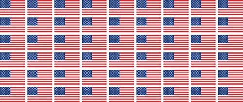 Mini Aufkleber Set - Pack glatt - 20x12mm - Sticker - USA - United States - Flagge - Banner - Standarte fürs Auto, Büro, zu Hause und die Schule - 54 Stück