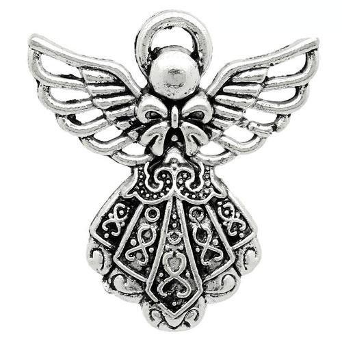 Charming Beads Tibetano Angelo Ciondolo/Pendente Argento Antico 26mm Pacco di 10