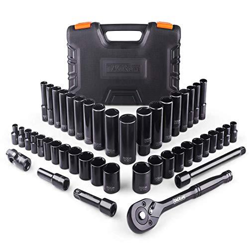 TACKLIFE Drive Socket Set, 3/8'' Reversible 72 Teeth Ratchet , 46 Pieces Socket & Ratchet Set Socket Set with Metric & SAE - SWS2A