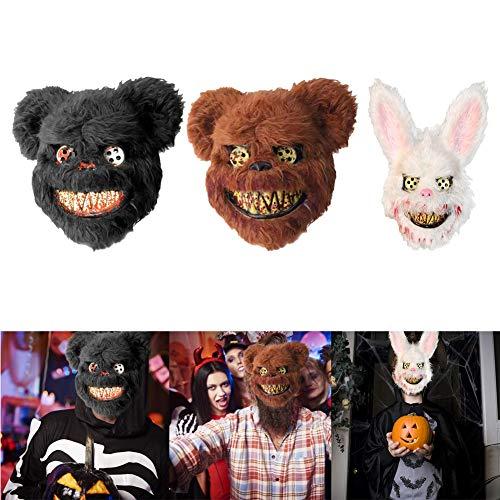 FafSgwq Plüsch Bloody Bear Rabbit Gruselige Gruselmaske Halloween Maskerade Kostüm Requisiten Weihnachten Halloween Festliche Atmosphäre Weiß