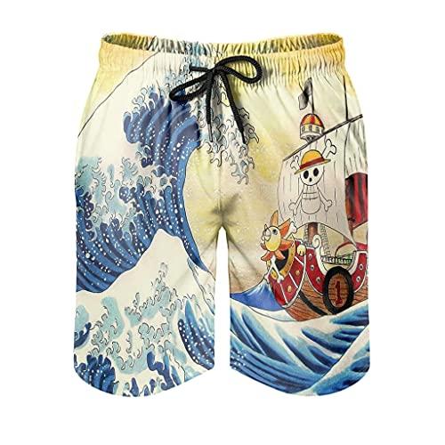 Dessionop Pantalones cortos de playa para hombre Kanagawa, diseño de barco pirata, con forro de bolsillo, cintura elástica, Hombre, Blanco2, xx-large