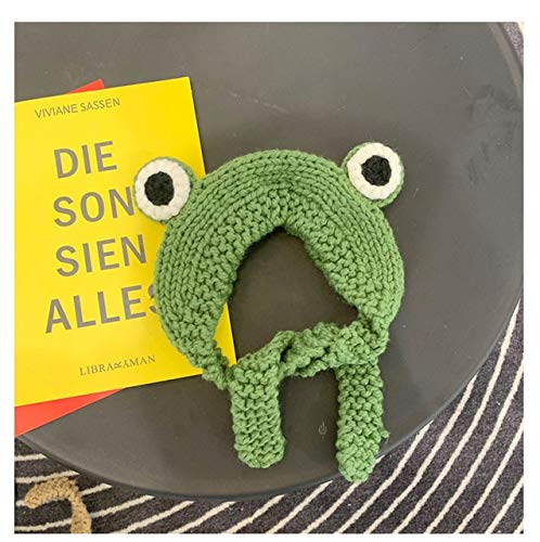 Invierno Skullies Mujer Rana Sombrero Crochet Sombrero de Punto Disfraz Beanie Sombreros Gorra Mujer Regalo Bebé Anime Sombrero Fotografía Prop Fiesta-Green-OneSize(56-58cm)