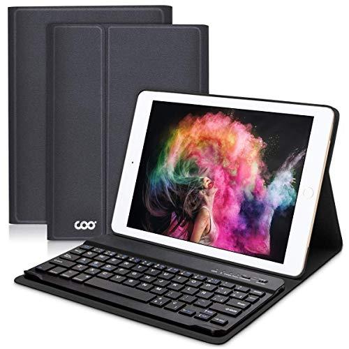 COO Funda con Teclado Español iPad 2018/2017, 9.7 Funda Ultraliviano con Teclado Bluetooth Inalámbrico para iPad Air 2/1, iPad 2018, iPad 2017, iPad Pro 9,7 con Soporte Multiángulo (Gris negro)