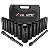 AVID POWER 18pcs 1/2-inch Drive Impact Socket Set, 10-24mm Metric Sizes Sockets and 3'' 5'' 10'' Extension Bar, 6 Point,...