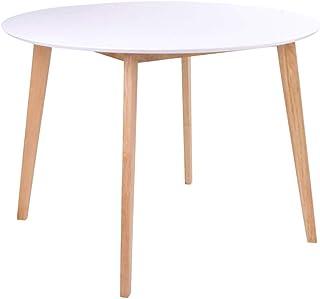 AltoBuy Gram - Table Repas Ronde 105cm Naturelle et Blanche
