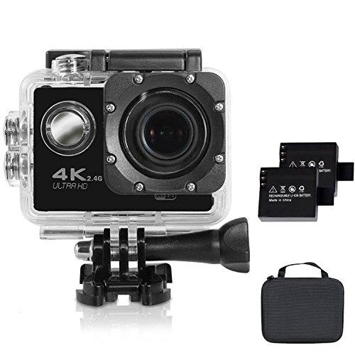 Action Camera Aizhy 4 K sport videocamera WiFi 12 MP 170 ° obiettivo ultra grandangolare impermeabile Cam DV subacquea fino a 30 meters, 2 pz batterie ricaricabili e portatile pacchetto