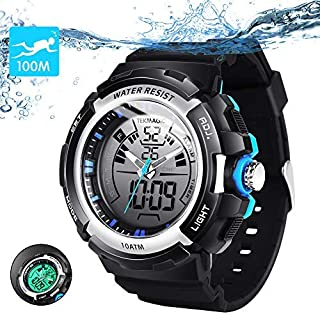 10ATM Waterproof Digital Scuba Diving Watch 100m Underwater for Swimming and Running with Stopwatch and Luminous LCD Display Built-in
