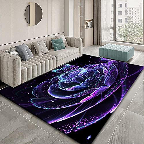 Alfombras Vinilo Alfombra Niña Habitacion Diseño gráfico Abstracto Minimalista Moderno del patrón de Flor Azul Rojo púrpura Alfombras Juveniles 100X150cm