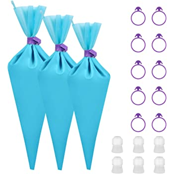 """Kootek 28 Pcs Cake Decorating Tools with 12 Reusable Silicone Piping Pastry Bags 3 Sizes (12"""" + 14"""" + 16""""), 6 Standard Couplers and 10 Icing Bag Ties Baking Supplies Accessories (Blue)"""