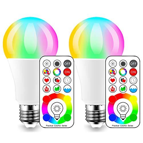 iLC LED Farbige Leuchtmittel RGB+Weiß Lampe Edison Dimmbare Farbige - 120 Farben RGBW - 10 Watt E26 Fassung LED Birnen - Kabellos Fernbedienung inklusive (2-er Pack)