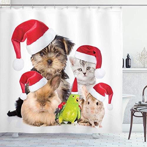 Weihnachtsduschvorhang 66x72 in, Weihnachtsmannschaft Katze Hund Vogel Maus und Kaninchenhase mit Weihnachtsmützen mürrisch Haustiere Bild, Stoff Stoff Badezimmer Dekor Set mit Haken rotbraun