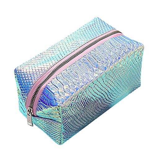 TENDYCOCO Kosmetiktasche Hologramm große Kapazität wasserdicht Make-up Pinsel Kulturbeutel Reisetasche Himmelblau