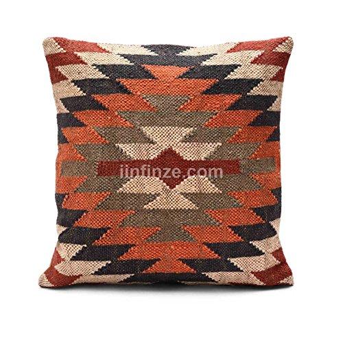 Indischer ethnischer Jute-Kilim-Kissenbezug, handgewebt, dekorativ, ideale für Draußen, 45 x 45 cm, Boho-Kissen