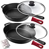 Cuisinel Cast Iron Skillet Set - 10' + 12'-Inch Frying Pan + Glass Lids + 2 Handle Cover Grips - Pre-Seasoned Oven Safe Cookware - Indoor/Outdoor Use - Grill, Stovetop, Induction, BBQ and Firepit Safe