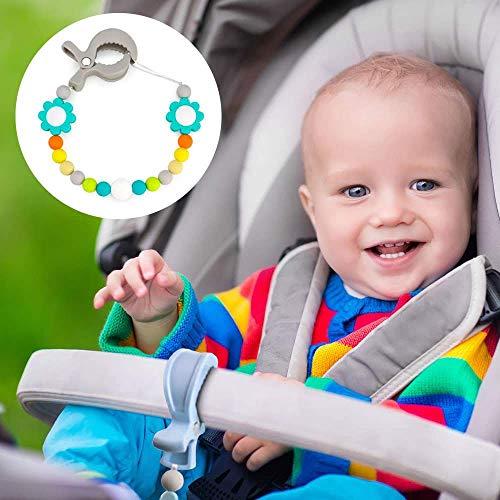 Ruby - Mollette per passeggino, clip per seggiolino auto o coperte, ganci per passeggino LAT clip per mussola e giocattoli 4 Pcs Blu pastello