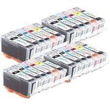 4 GB Inks - Juego de 6 Cartuchos de Tinta compatibles con Canon PGI-525 & CLI-526 para impresoras PIXMA (24 tintas)