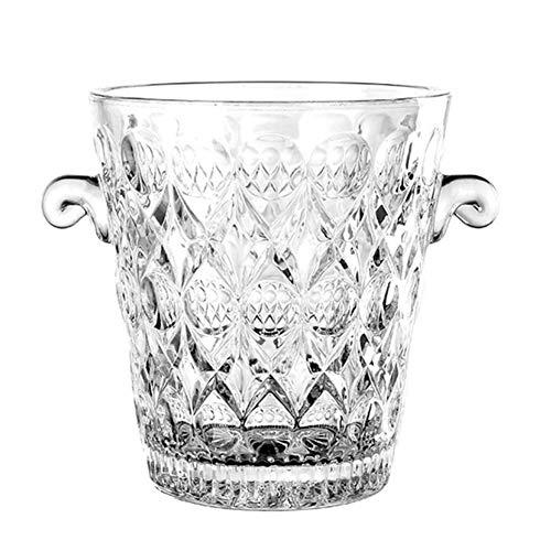 ZXL Portaghiaccio,Secchiello per Il Ghiaccio in Vetro per Vino, Secchiello per Champagne in Cristallo Portatile Contenitore per cubetti di Ghiaccio Trasparente Refrigeratore per Vino Raffreddato