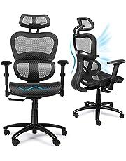 Komene Home Office Computer Bureaustoel, Ergonomisch Swivel Hoge Back, Lumbal Ondersteuning 3D Armleuning, Moderne Fauteuil Kantel Ademende Mesh-Rugleuning (zwart)