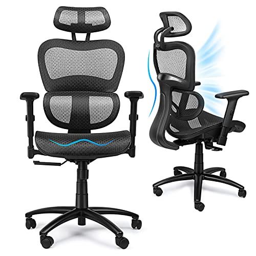 Komene Bürostuhl Ergonomisch mit Atmungsaktiver Netzrückseite, 360° Drehbarer Bürostuhl mit...