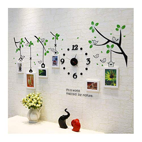 Frame decoratieve fotowand kleine vogel massief hout creatieve muursticker klok fotowand (kleur: B) D