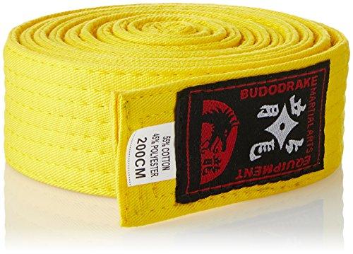 Budodrake Cinturón Amarillo 220 cm para Karate Judo Taekwondo Hapkido Aikido Artes Marciales
