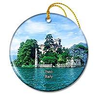 イタリアイゼーオ湖島クリスマスオーナメントセラミックシート旅行お土産ギフト