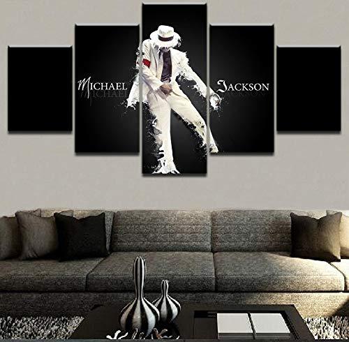 Lienzo Arte de la pared Cuadros modulares Marco para sala de estar 5 piezas Michael Jackson Pinturas Decorativas para el hogar Impresos HD Impresos