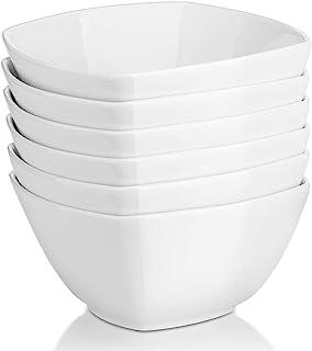 DOWAN Square Cereal Bowls,27 Ounces Porcelain Soup Bowls, Set of 6 White Serving Bowl for Salad Pasta Dessert Snack, Chip Resistant, Dishwasher & Microwave Safe