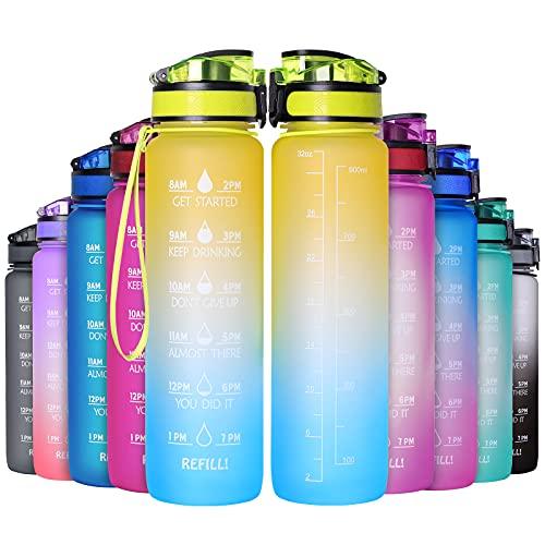 GeeRic Bottiglia Acqua 1 Litro, 1000ML Borraccia Sportiva Portatile Bottiglia Sportiva con Scala/Filtro/Indicatore di Tempo Prova di Perdite Borraccia Bici 1L per Scuola,Sport,Ciclismo Giallo+Azzurro