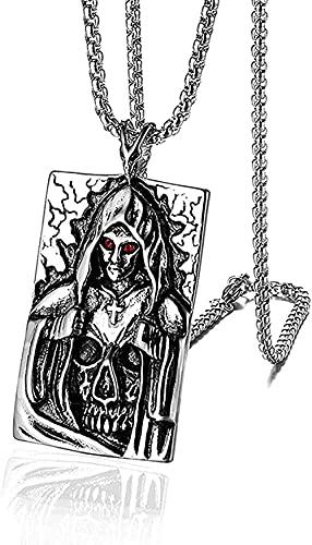 Collar para mujer Collar para hombre Colgante estilo gótico punk de acero inoxidable para hombre calavera oculta diosa cruz etiqueta de perro colgante collar negro plata colgante collar regalo para ni