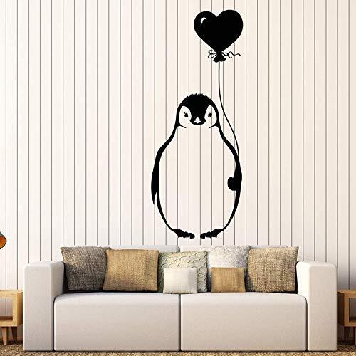 Vinyl Muursticker Cartoon Arctic Pinguïn Vogel met Ballon voor Kinderkamer Sticker Verwijderbare Kunstmuurschildering voor Baby Slaapkamer Decor 57x138cm