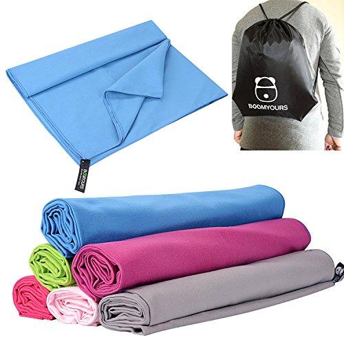 BOOMYOURS Schnell trocknendes Mikrofaser-Handtuch für Reise, Sport, Turnhalle, Yoga, Schwimmen, Strand (Groß/Leicht/Extra...