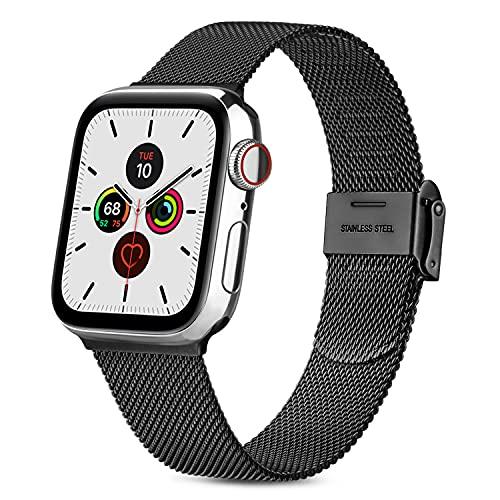 RUHE Correa Compatible con Apple Watch 38mm 40mm 42mm 44mm,Pulsera de Repuesto de Acero Inoxidable Correa para iWatch Series SE 6 5 4 3 2 1,Hombres y Mujer(42mm/44mm,Negro)