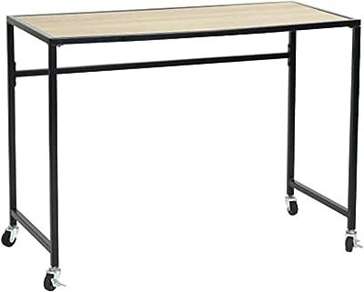 MEUBLE COSY Bureau d'ordinateur amovible, Bureau table en bois de hêtre en métal avec roulettes en nylon