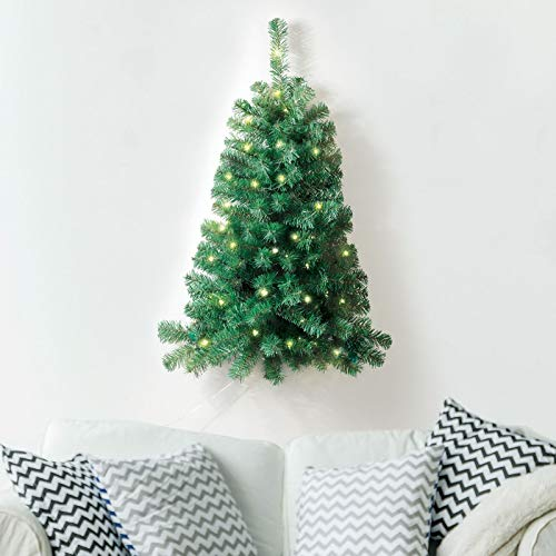 ASAB Prelit 3ft Artificial Christmas Xmas Tree Decorated With 50 White LED Lights Space Saver Half Tree Mounts Flat Against Wall Corner Hanging