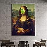 wopiaol Sin Marco Cuadro en Lienzo Imprimir Arte Divertido de la Pared Mona Lisa Poster Decoración del hogar Modular Nordic Modular Picture Living Room