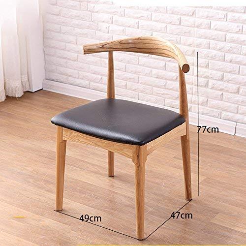 AXCJ Kleiner Sitz japanischen Massivholz Eiche Leder Weichen Esszimmerstuhl modernen minimalistischen Home Hocker Rückenlehne Stuhl Massivholzmöbel