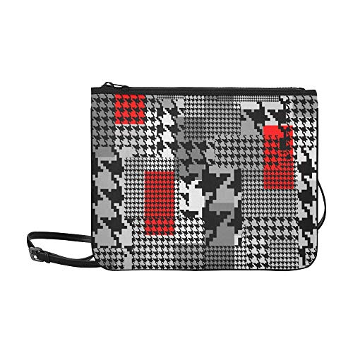 WYYWCY Clásico inglés Glen Plaid Pattern Custom Nylon de alto grado Slim Clutch Bag Cross-body Bag Shoulder Bag