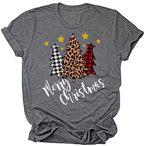 Beopjesk Christmas Shirts Womens Leopard Plaid Trees Printed Casual Short Sleeve Graphic Tees Tops (L, Merry Christmas)