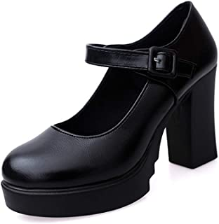 Women Mary Jane Pump Classic High Block Heel Lolita Platform Shoes Ankle Buckle Work Shoes by Lowprofile